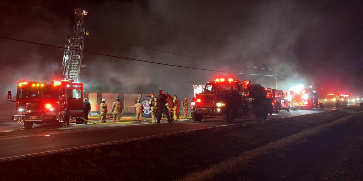Fire crews battling blaze at tire dealer in Butler County