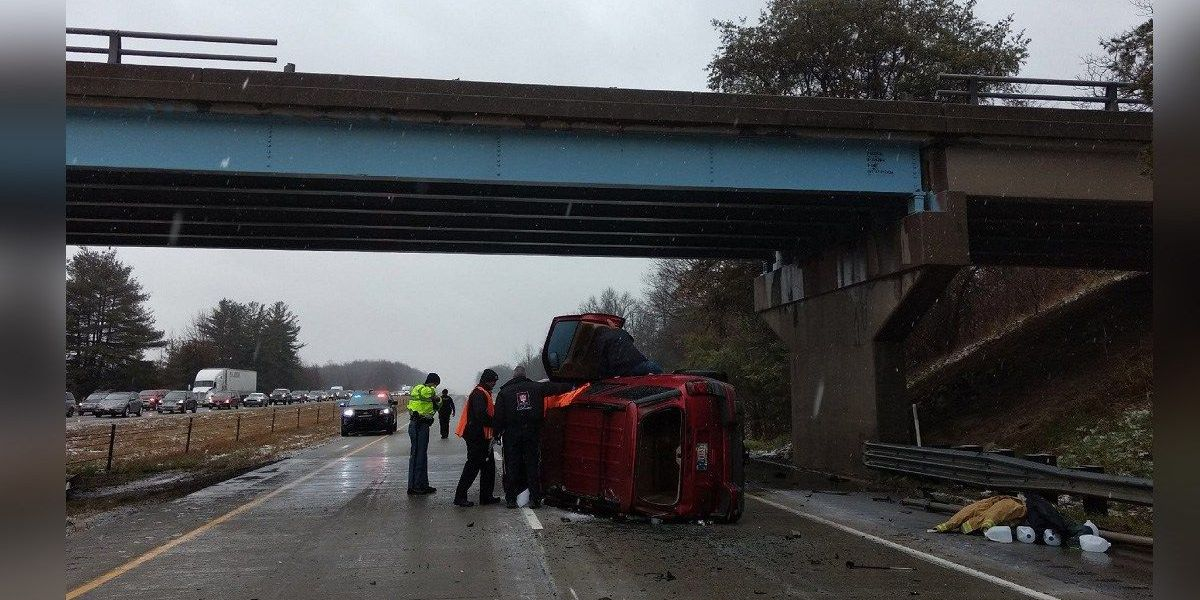 Vehicle falls off overpass onto I-65 in Indiana
