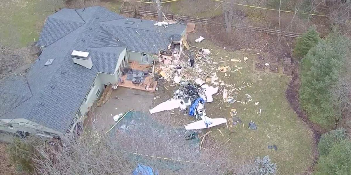 Drone video of site where plane crashed into house in Madeira
