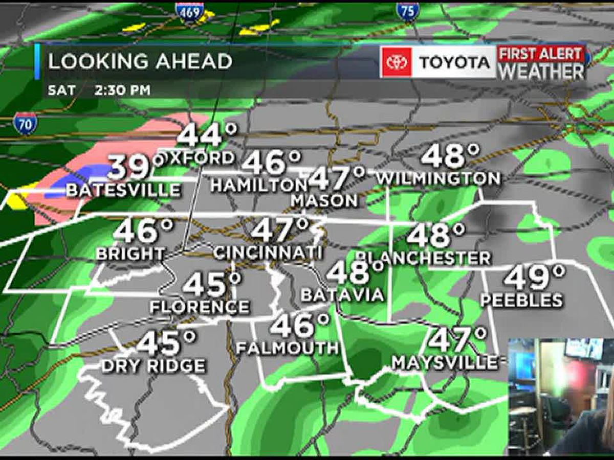 Heavy rain through early Saturday morning, then cold showers in the afternoon