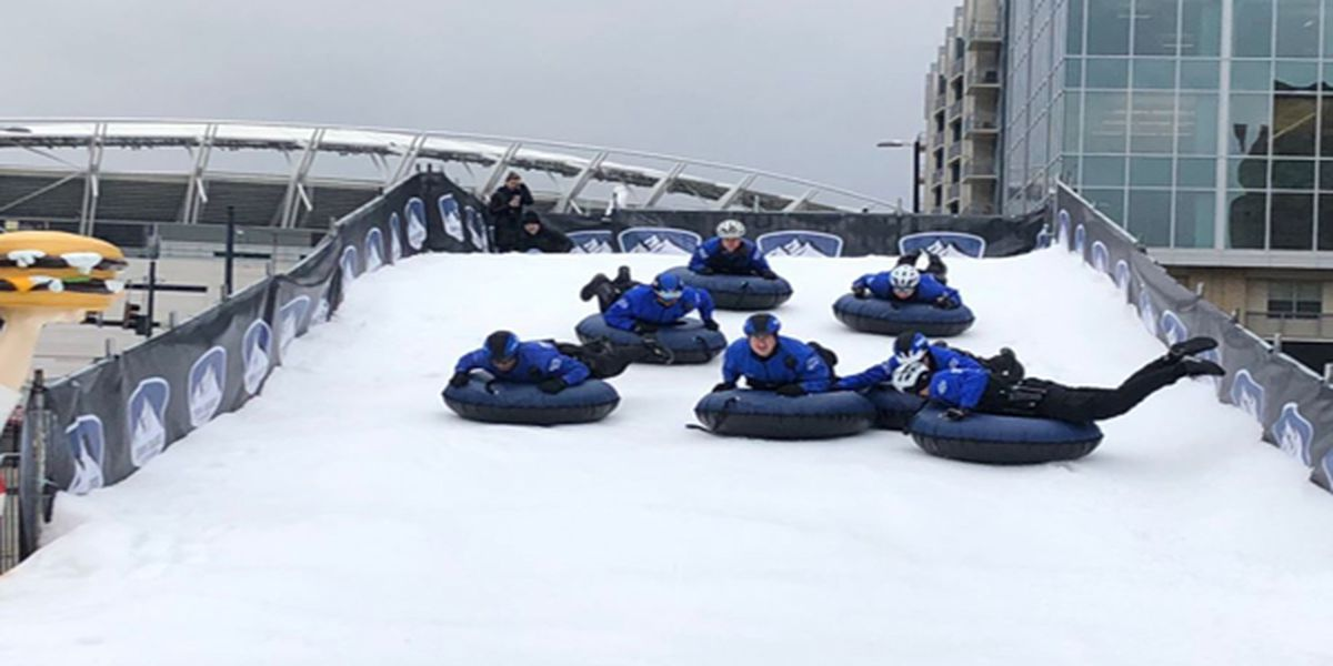 Cincinnati police go snow tubing at Snow Banks at The Banks