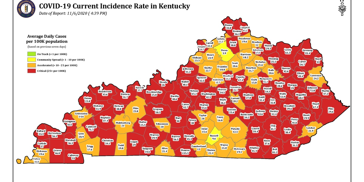 4th NKY county in 'red zone' on Kentucky's latest incident rate map