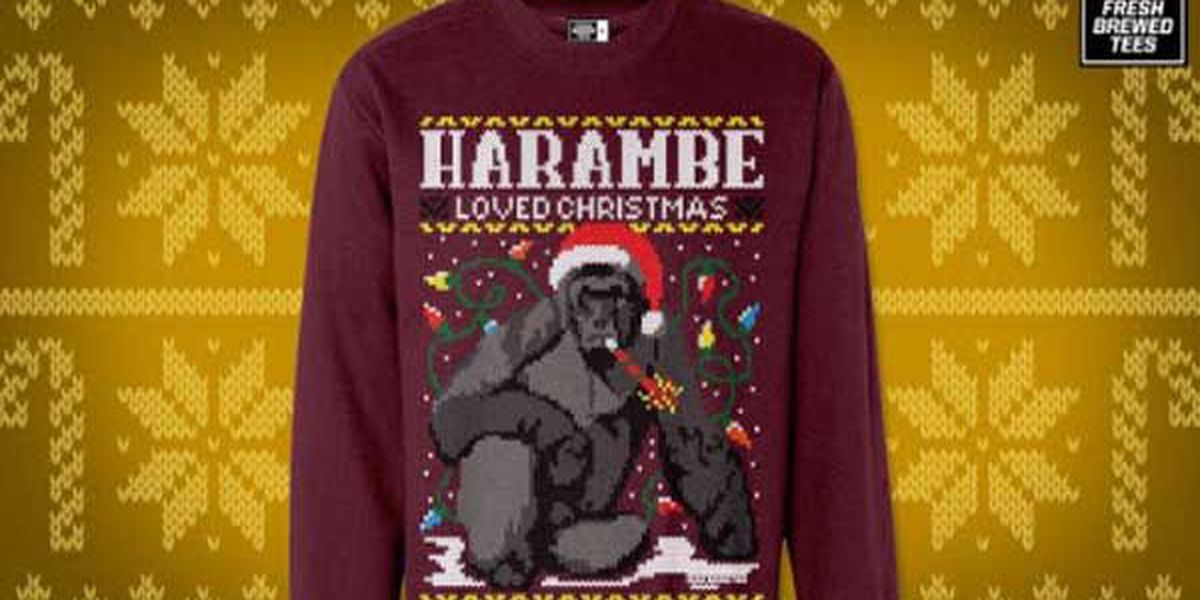 harambe ugly christmas sweatshirt instant hit