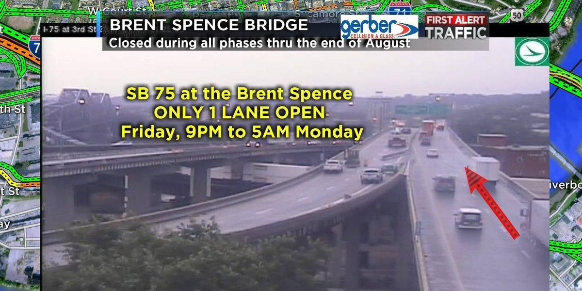 Brent Spence Bridge to be reduced to 1 lane this weekend