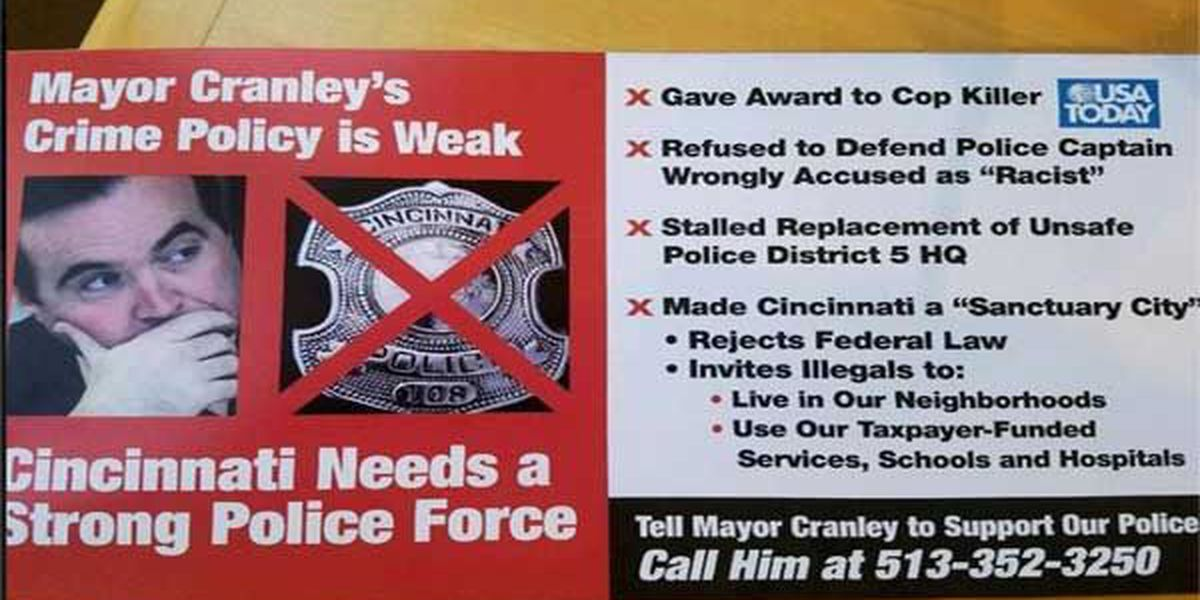 Unclear who paid for campaign fliers calling Mayor Cranley's crime policy 'weak'