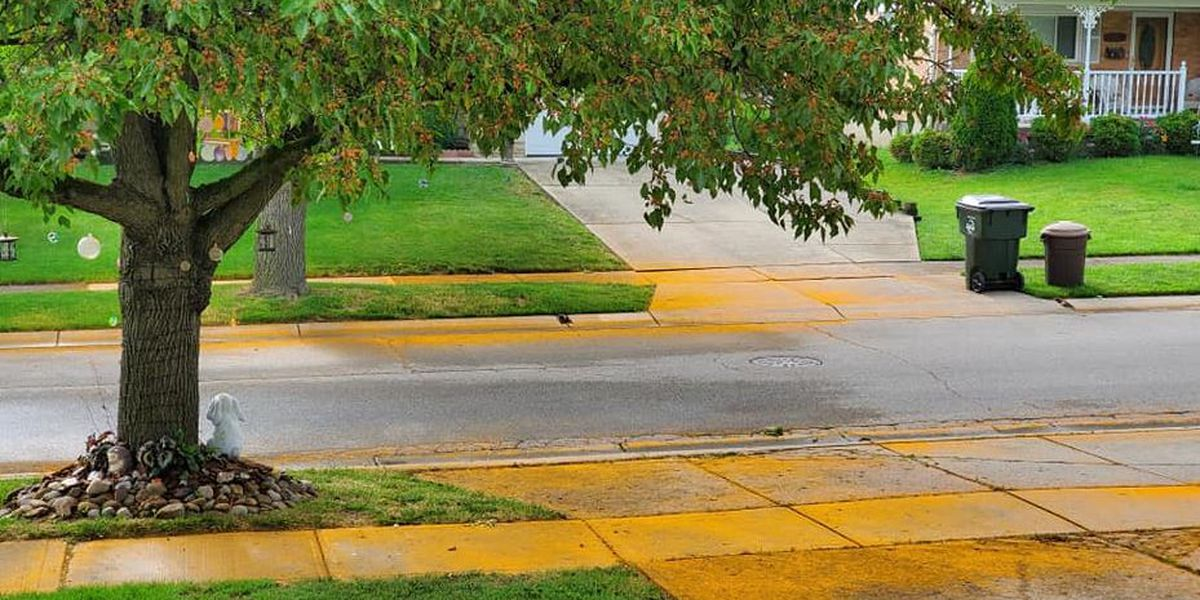 Streets of Sharonville painted orange by mystery powder