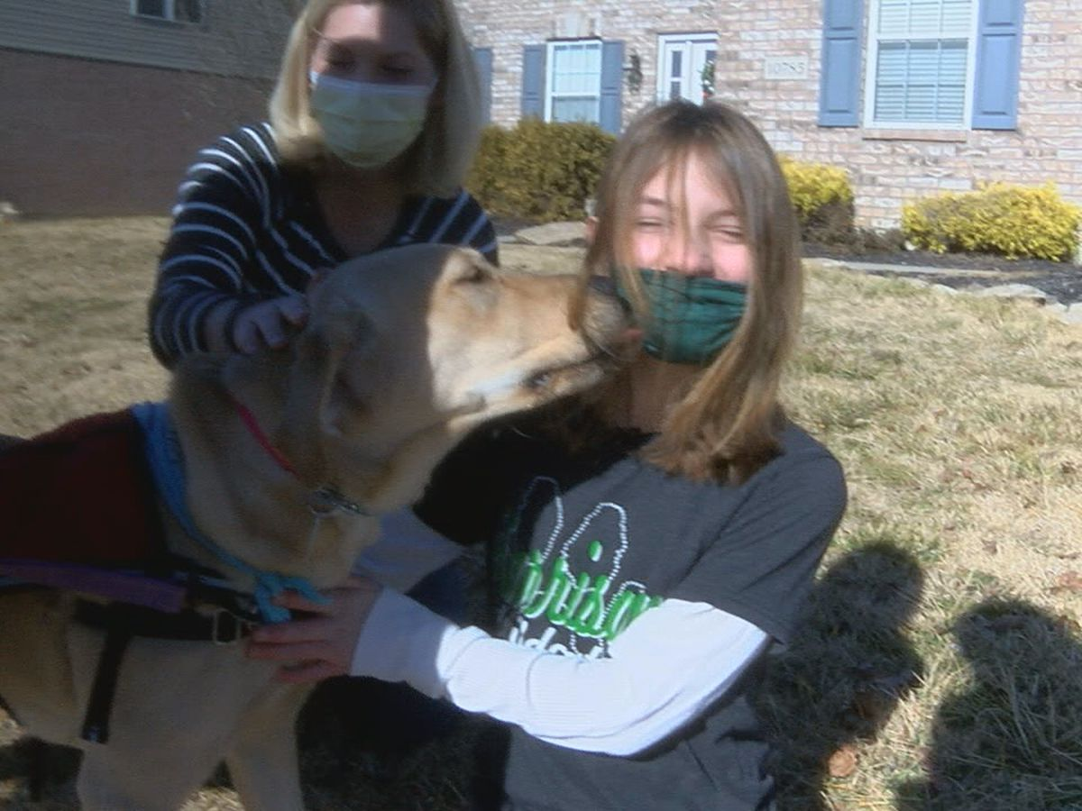 Young girl getting service dog she needs after meeting donation goal