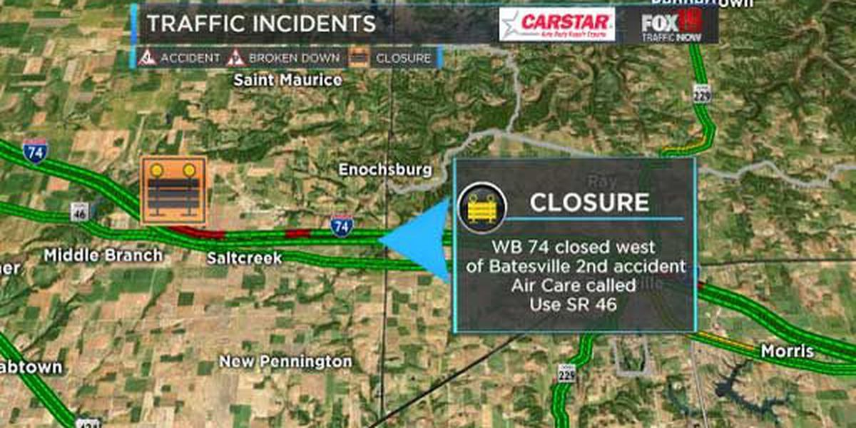 WB I-74 reopens from crash near Batesville
