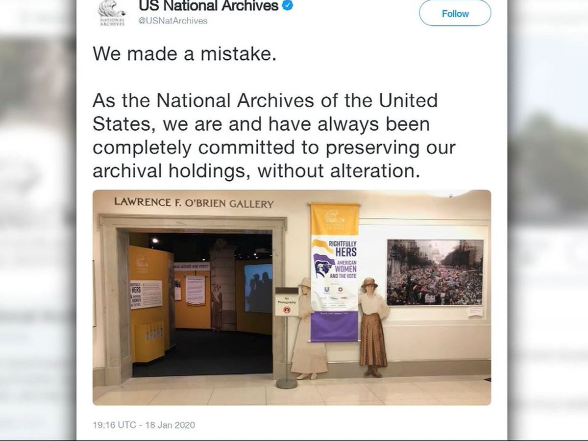 National Archives says 'wrong' to blur anti-Trump signs