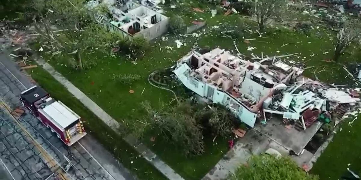 Drone video: Storm destruction in Celina, Ohio