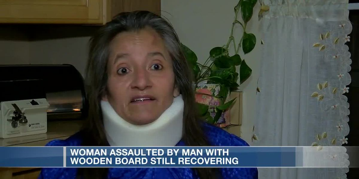 Woman assaulted by man with wooden board still recovering