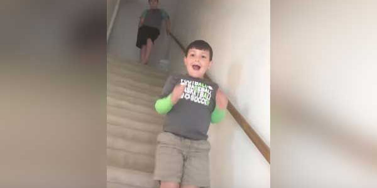 WATCH: Mom tells son, 7, he beat cancer