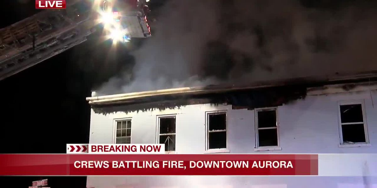 Fire in downtown Aurora, Indiana