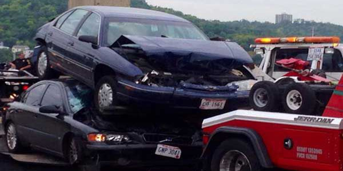 Car lands atop another in Western Hills Viaduct crash
