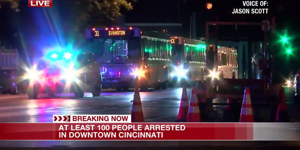 Buses brought in for at least 100 people arrested in downtown Cincinnati