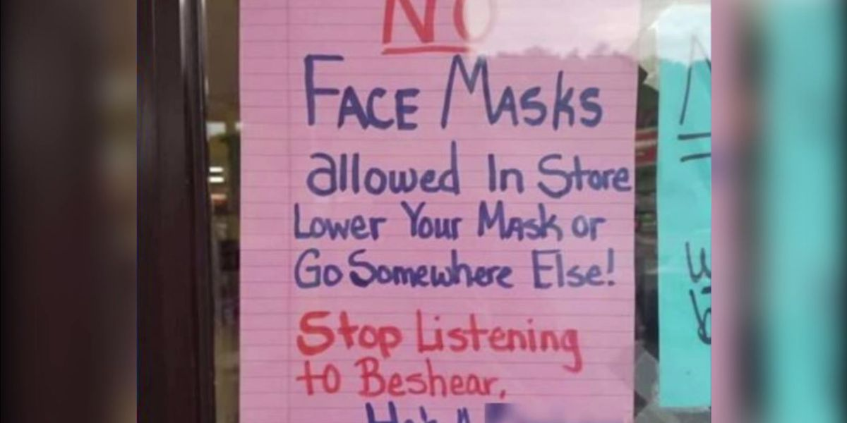 'No face masks' sign on door of Kentucky convenience store raises concern