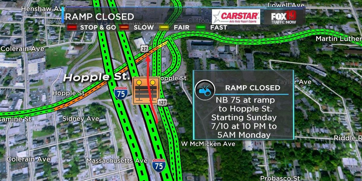 NB I-75 ramp to Hopple will close Sunday night