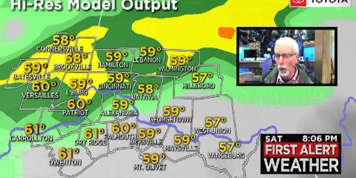 It's expected to rain pretty much all day Saturday