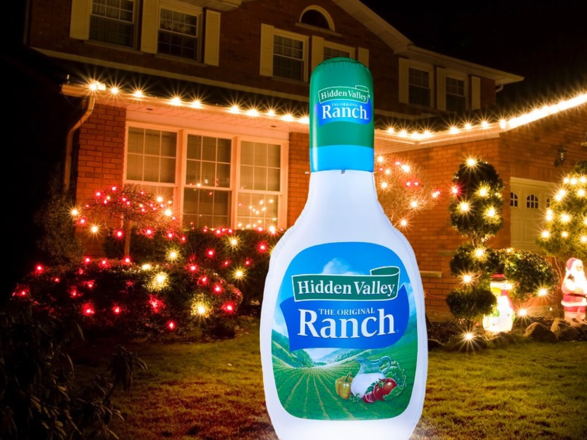 Dress up your front yard with the Hidden Valley Ranch inflatable bottle