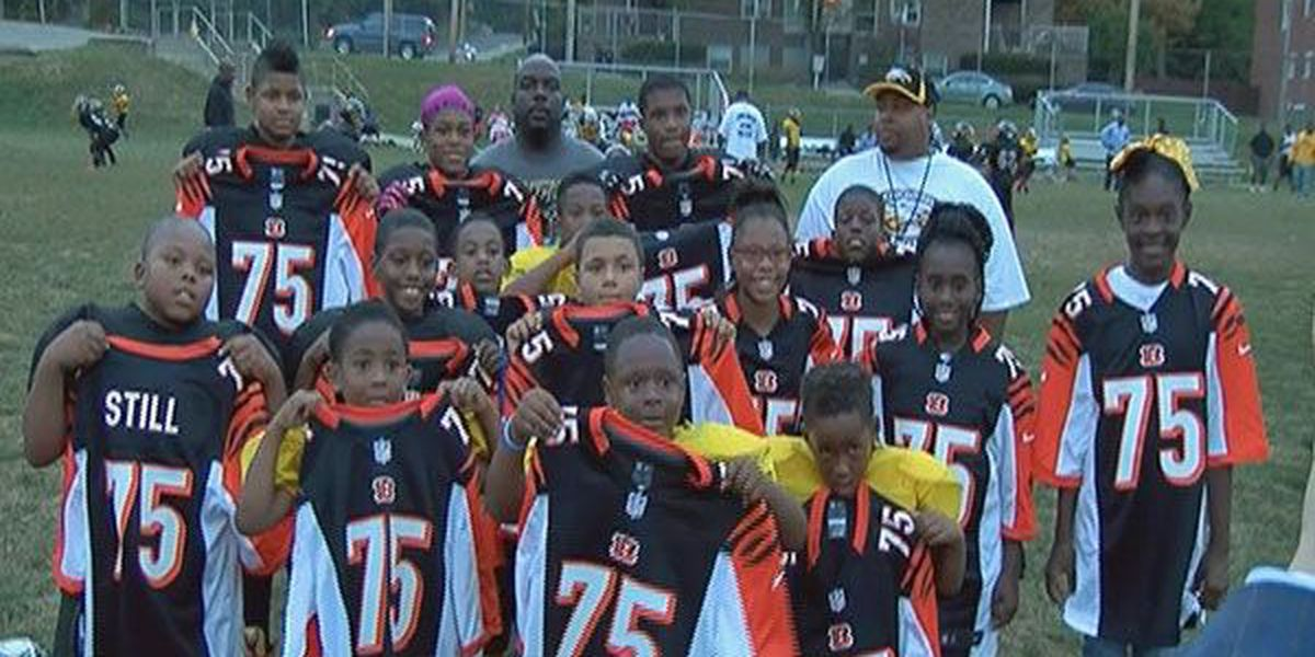 ESPN host gives Devon Still jerseys to youth football team