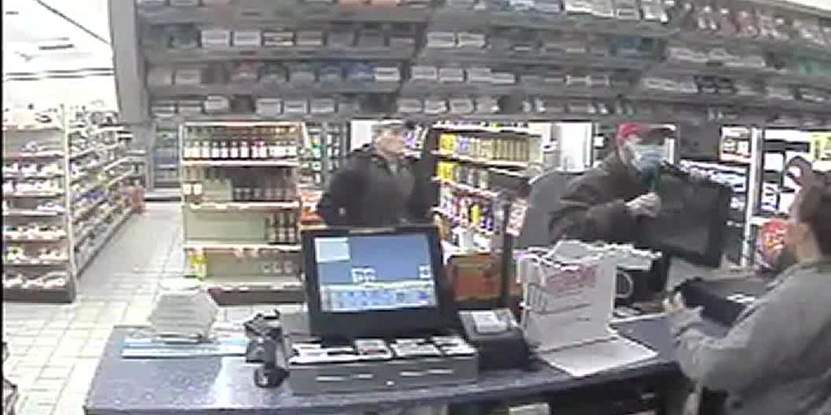 Customers stop robbery suspect after he throws cash register monitor at clerk