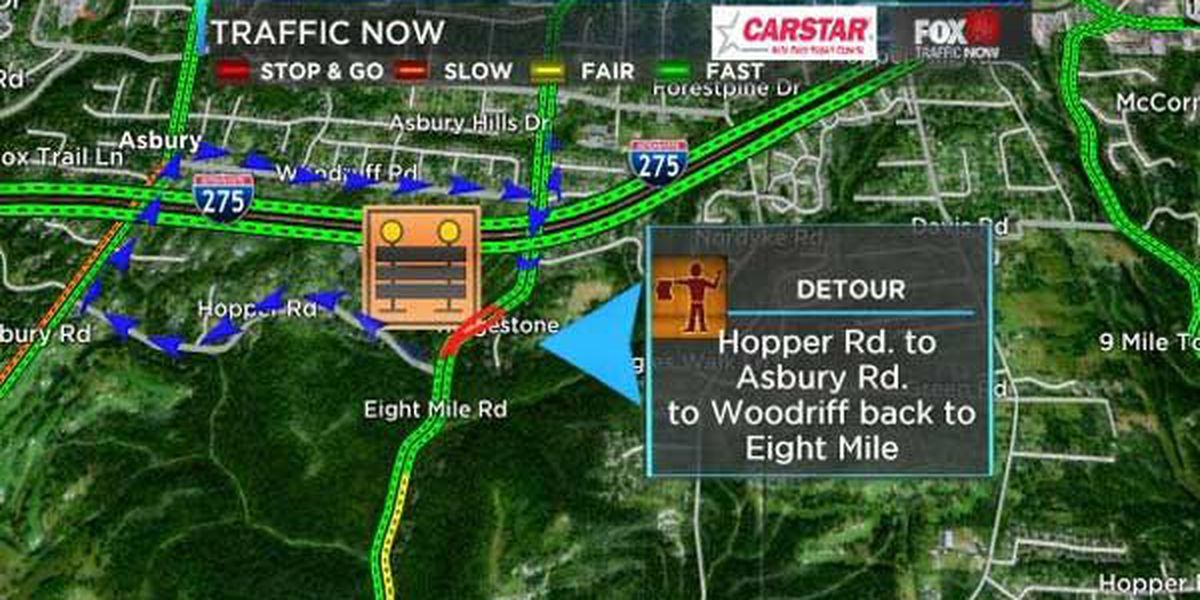 Retaining wall installation closes Eight Mile Road in Anderson Twp