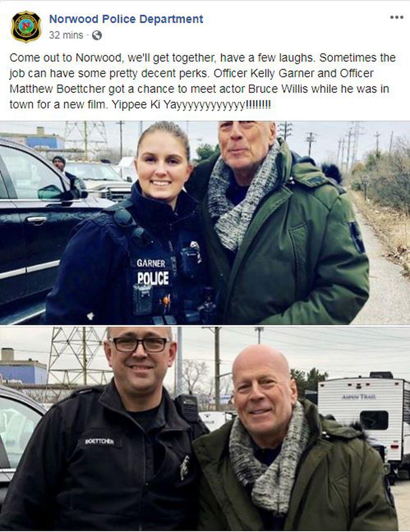 Bruce Willis hace una parada en Norwood durante el rodaje.