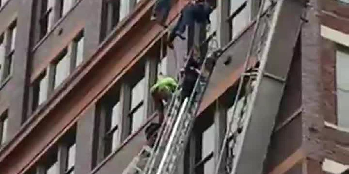 Workers rescued after scaffolding collapse in downtown Cincinnati