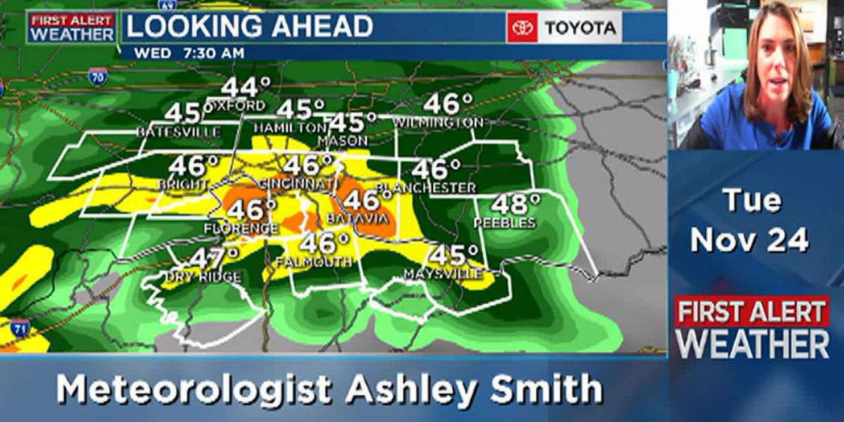Heavy rain moves in Wednesday morning