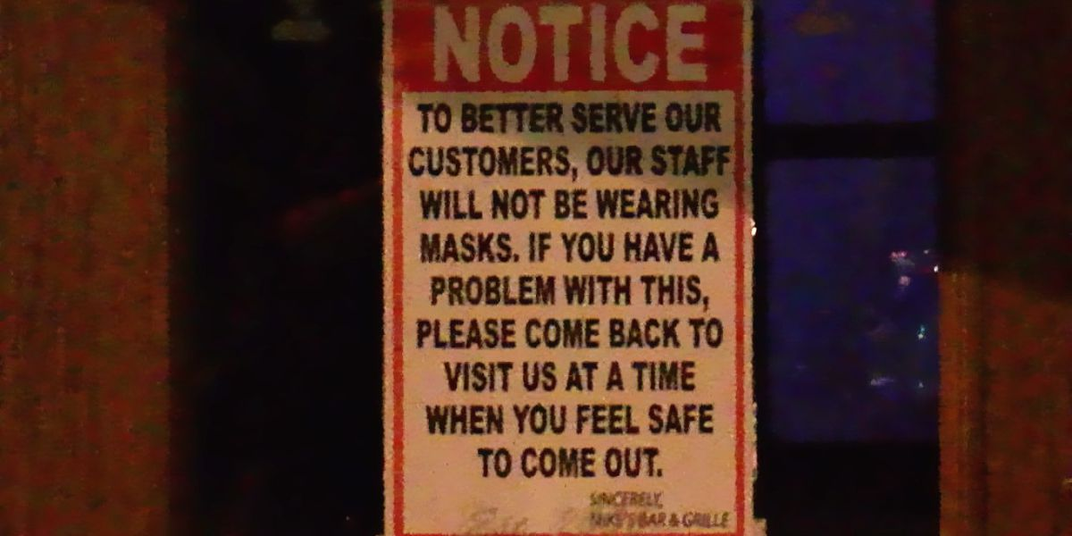 Berea restaurant posts 'our staff will not be wearing masks' sign on door amid coronavirus crisis