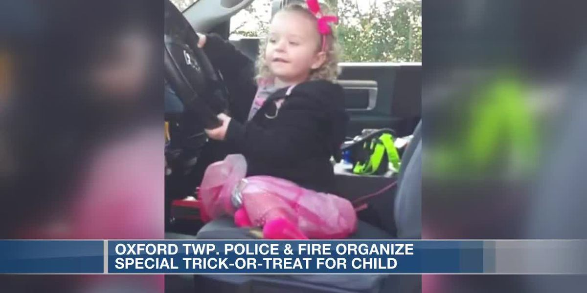 Oxford police & fire organize special trick or treat for little girl