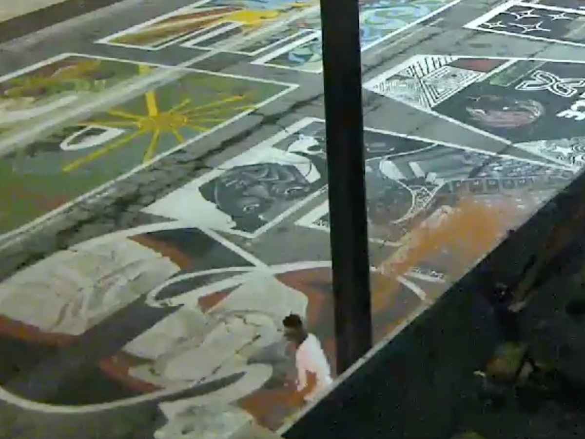 Black Lives Matter mural vandalized outside City Hall, police release footage of suspect