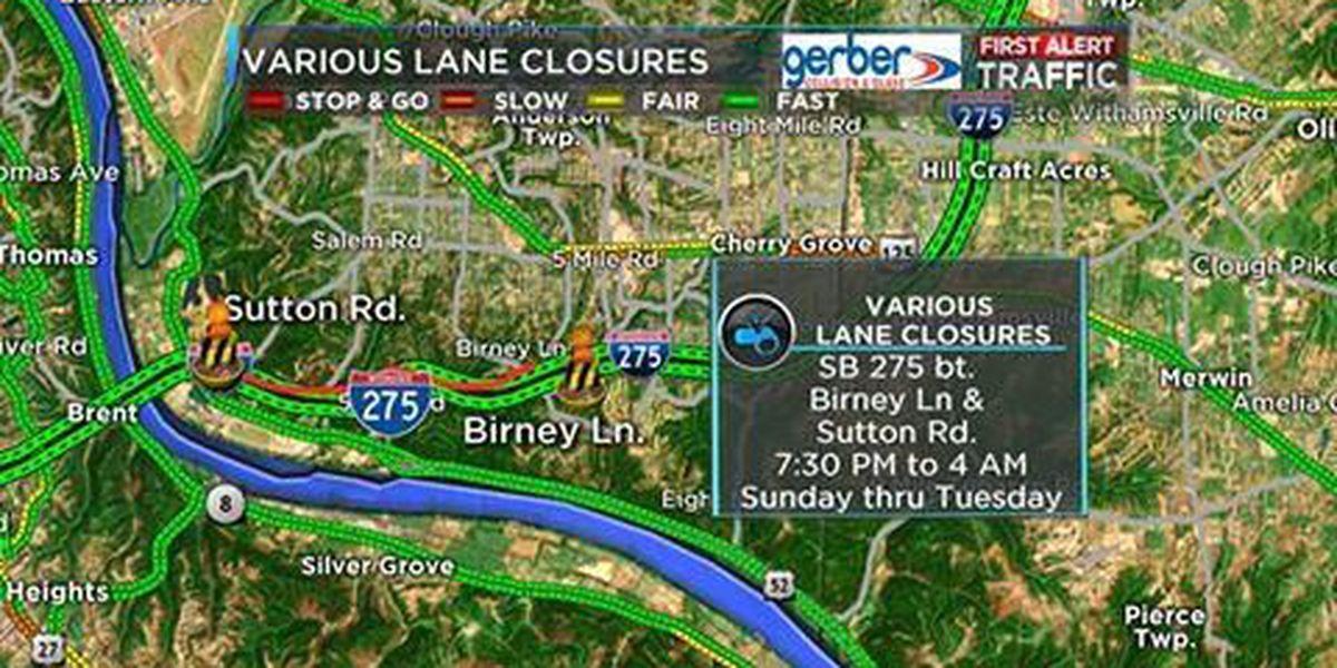 Overnight lane closures on south I- 275 start Sunday