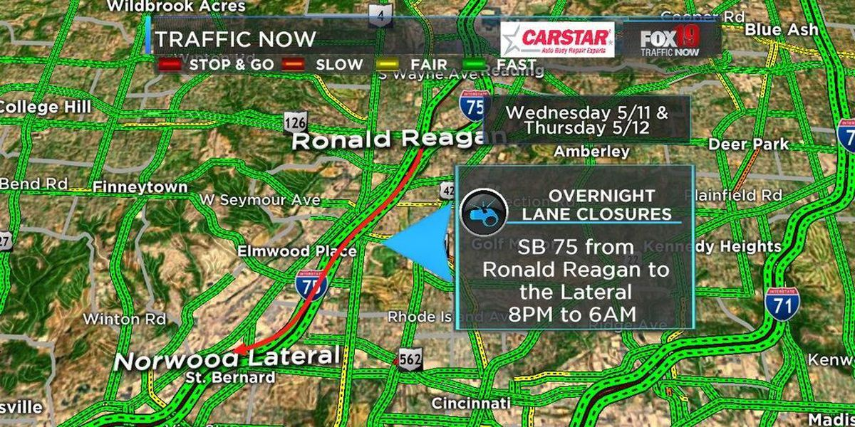 Crews to close lane on SB I-75 near Ronald Reagan for resurface work