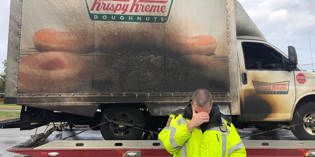 Cops left hilariously heartbroken after Krispy Kreme doughnut truck catches fire