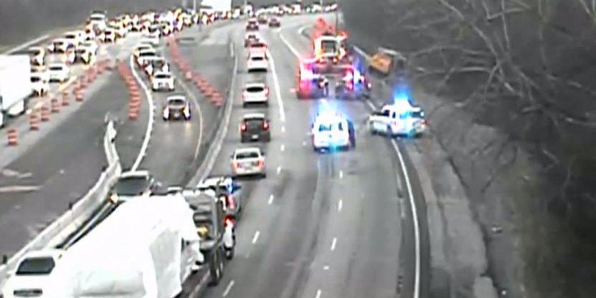 Crash, fuel spill snarls NB 7I at Kenwood Road