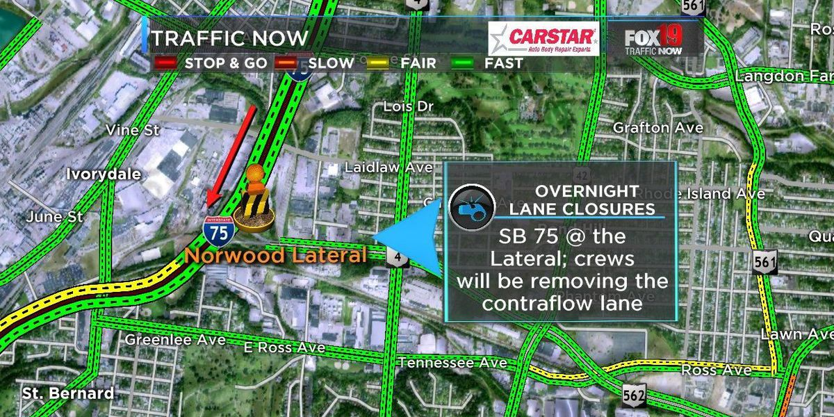Southbound Interstate 75 traffic pattern shift at the Norwood Lateral Friday night
