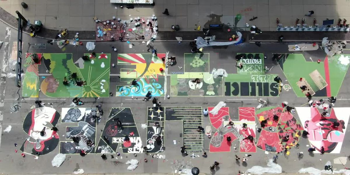 Drone video shows progress of 'Black Lives Matter' mural outside Cincinnati City Hall