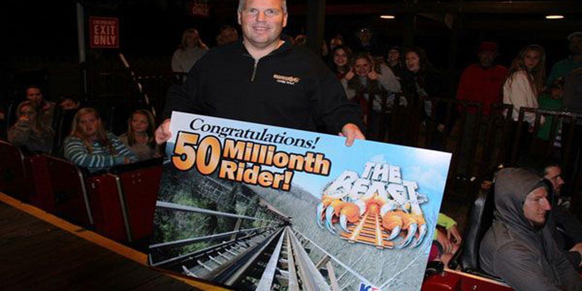 Ohio man 50 millionth rider on The Beast roller coaster at Kings Island