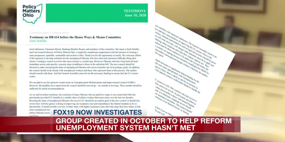 Group created in October to help reform Ohio unemployment system hasn't met