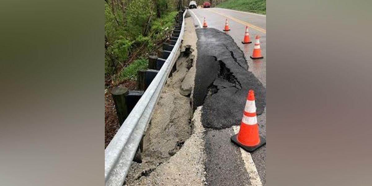 Warren County road closed due to landslide