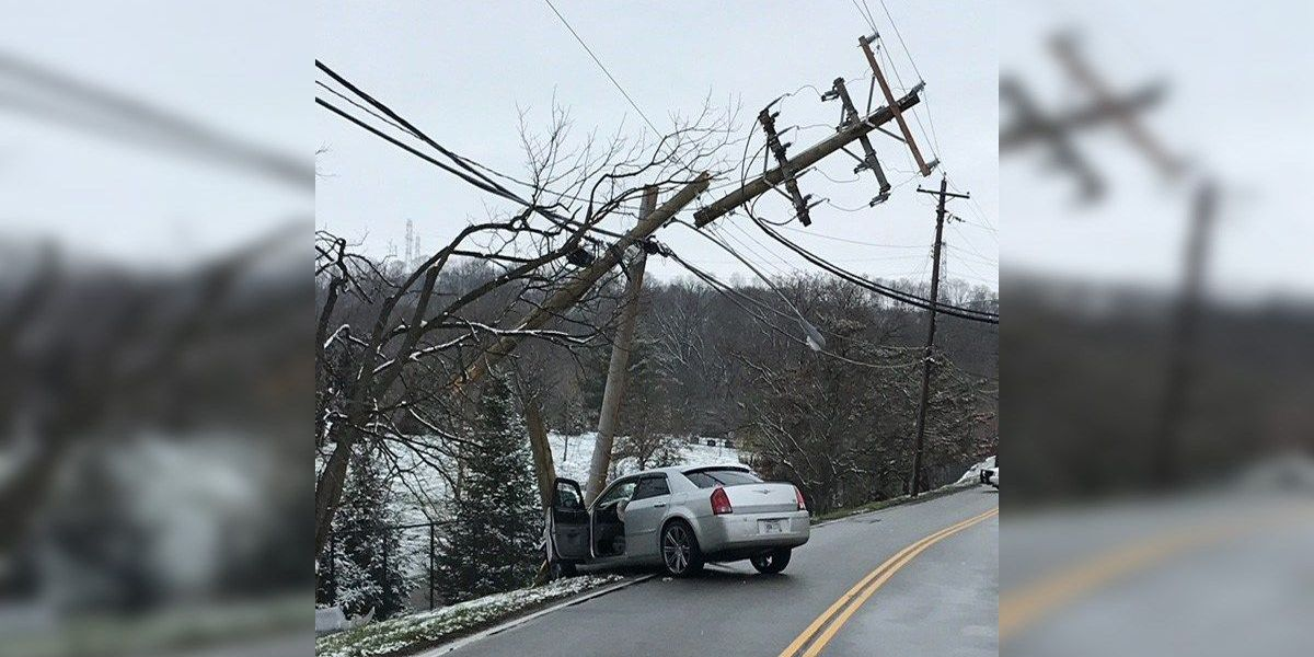 Car breaks power pole into pieces
