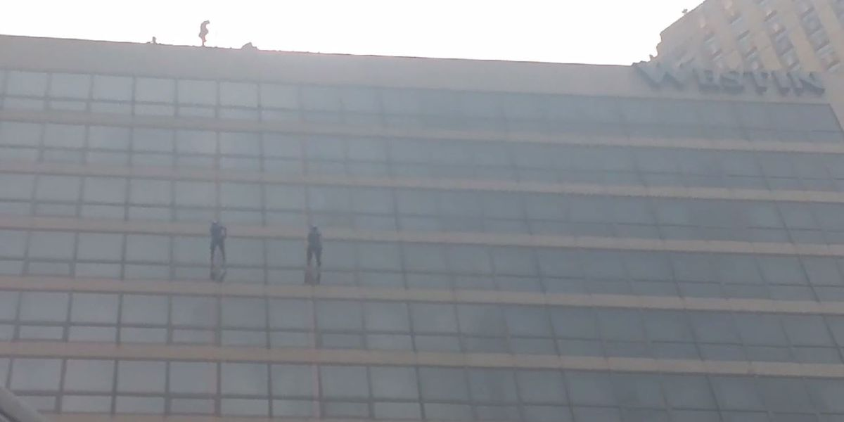 FOX19 NOW's own daredevils rappel the Westin hotel