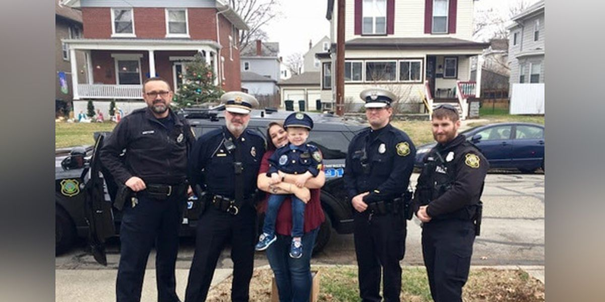 Norwood police surprise 3-year-old at birthday party