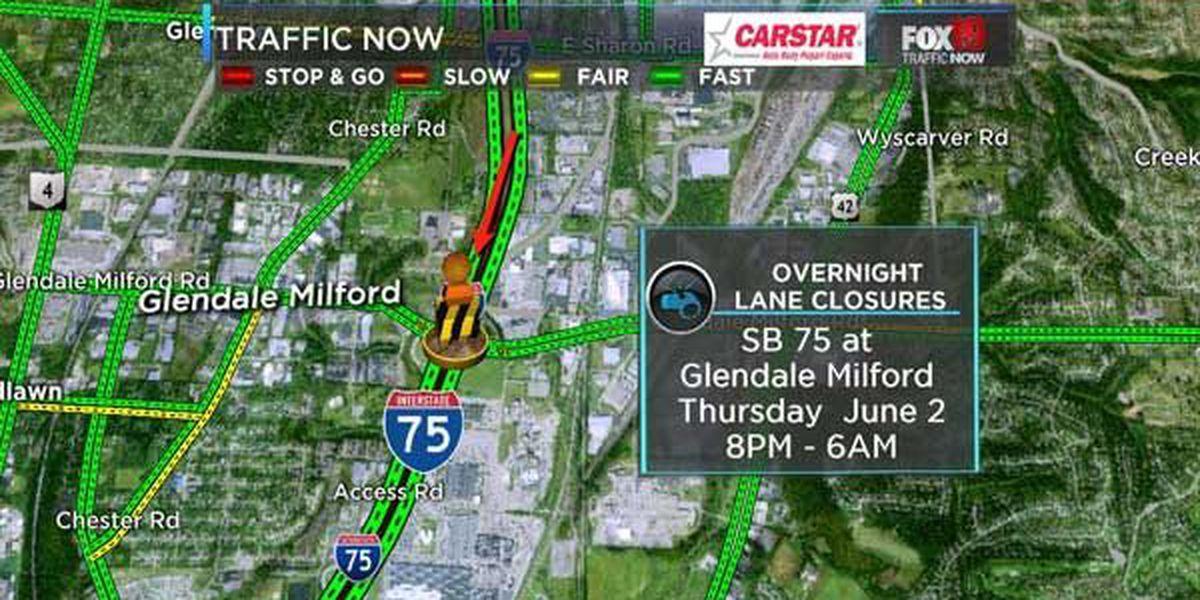 Overnight SB I-75 lane closures near Glendale Milford Road
