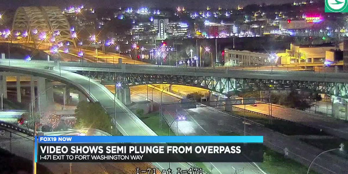 Video shows semi plunge from overpass