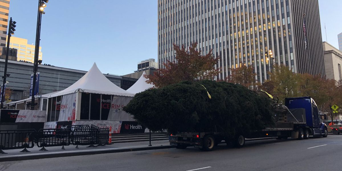 Fountain Square decked out for the holidays with Macy's Christmas tree