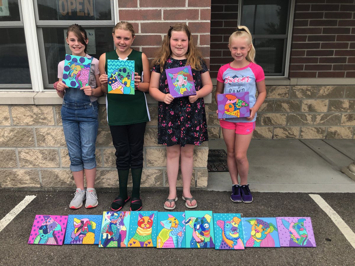 Struble Elementary Students create paintings for PAWS Adoption Center