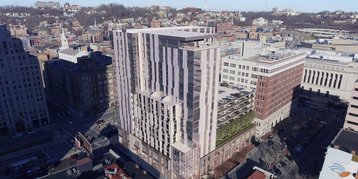 Apartment complex above downtown Cincinnati Kroger given official name