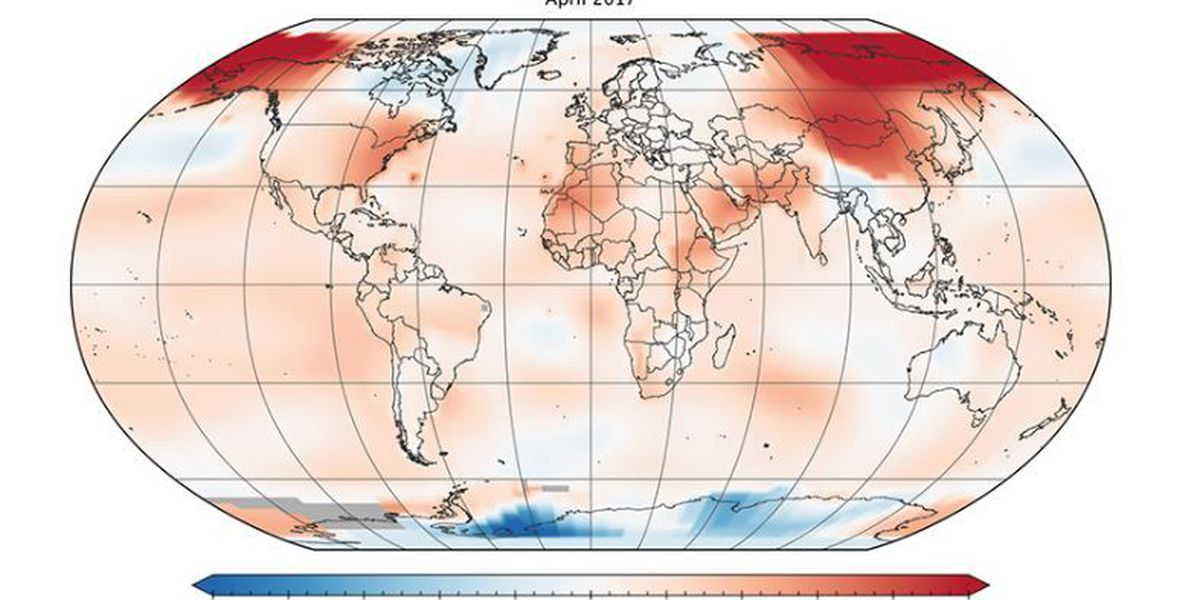 April 2017 second warmest April on record